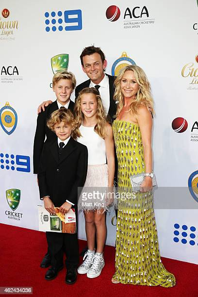 Adam Gilchrist and his family arrives ahead of the 2015 Allan Border Medal at Carriageworks on January 27 2015 in Sydney Australia