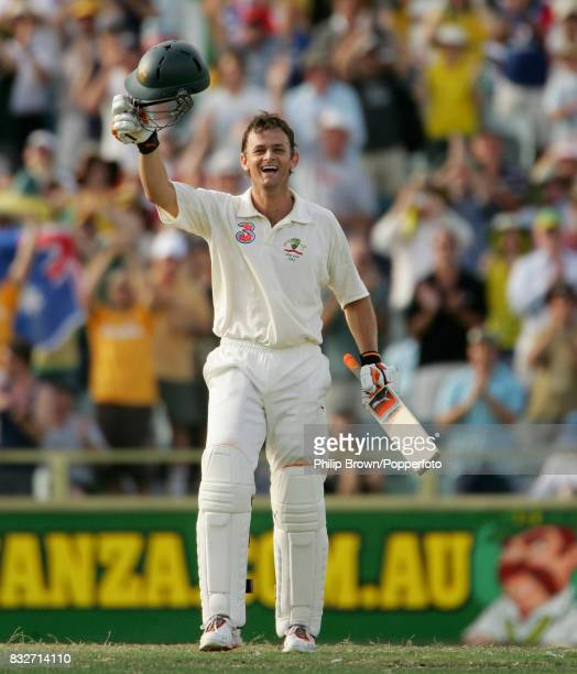 Adam Gilchrist of Australia celebrates reaching his century off only 57 balls during his innings of 102 not out in the 3rd Test match between...