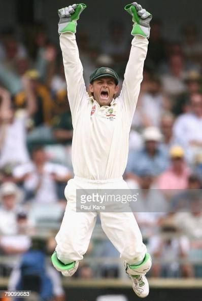 Adam Gilchrist of Australia celebrates the wicket of Anil Kumble during day three of the Third Test match between Australia and India at the WACA on...