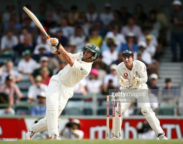 Adam Gilchrist of Australia drives during day three of the third Ashes Test Match between Australia and England at the WACA on December 16 2006 in...
