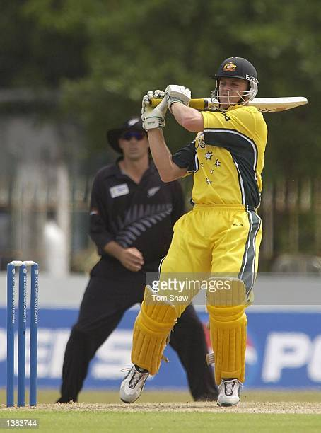 Adam Gilchrist of Australia hits out during the Australia v New Zealand match of the ICC Champions Trophy at the Singhalese Sports Club Stadium...