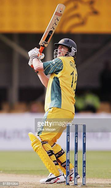 Adam Gilchrist of Australia in action during the ICC Champions Trophy semi final match between England and Australia at the Edgbaston Cricket Ground...