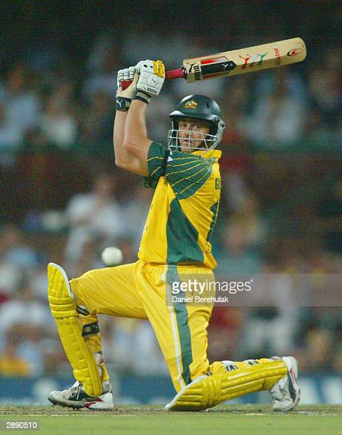 Adam Gilchrist of Australia in action during the VB Series One Day International between Australia and India at the SCG on January 22 2004 in Sydney...