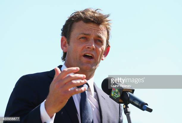 Adam Gilchrist of Australia speaks after being inducted into the ICC's Hall of Fame during day one of the Third Ashes Test Match between Australia...