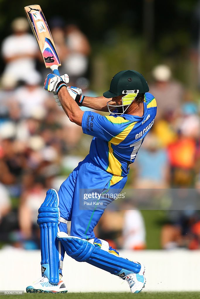 Adam Gilchrist of the Legends bats during the WA Festival of Cricket Legends Match between the Australian Legends XI and Perth Scorchers at Aquinas College on December 11, 2015 in Perth, Australia.