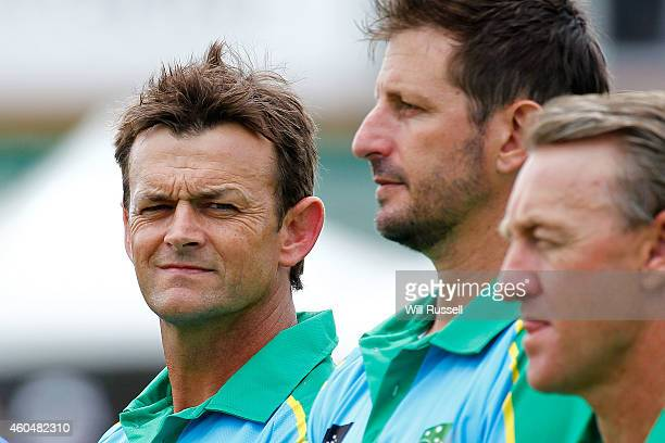 Adam Gilchrist of the Legends XI looks on during the National Anthem during the Twenty20 match between the Perth Scorchers and Australian Legends at...