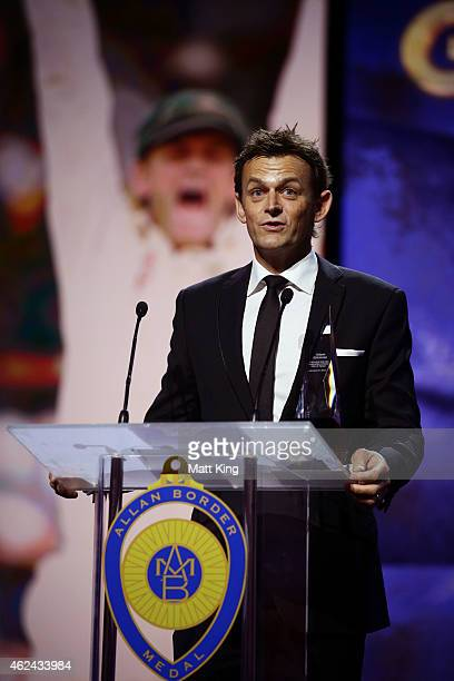 Adam Gilchrist speaks on stage after being inducted into the Hall of Fame during the 2015 Allan Border Medal at Carriageworks on January 27 2015 in...
