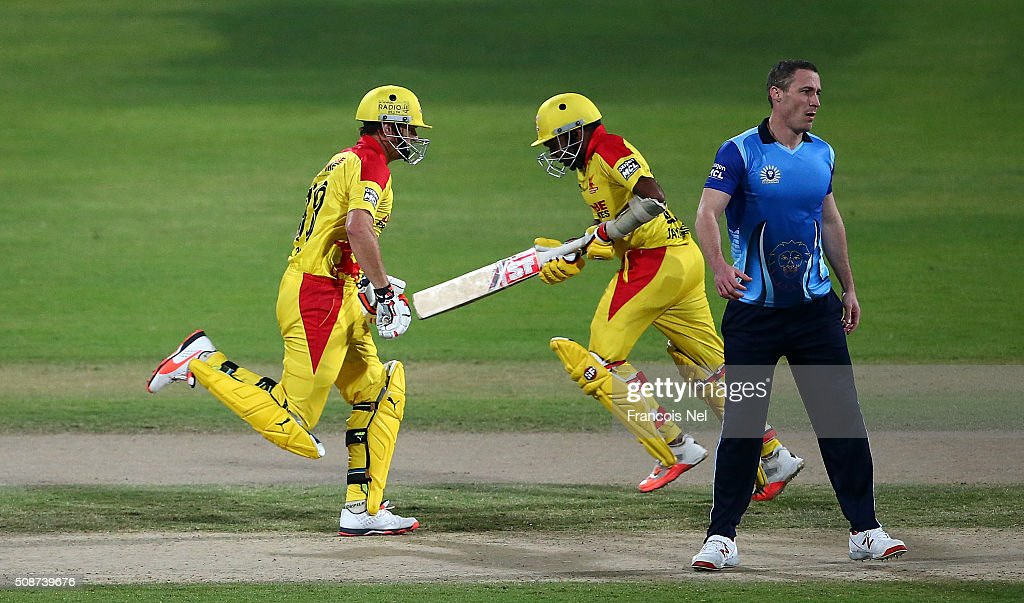 <a gi-track='captionPersonalityLinkClicked' href=/galleries/search?phrase=Adam+Gilchrist&family=editorial&specificpeople=175804 ng-click='$event.stopPropagation()'>Adam Gilchrist</a> the Captain of Sagittarius Strikers and team-mate <a gi-track='captionPersonalityLinkClicked' href=/galleries/search?phrase=Mahela+Jayawardene&family=editorial&specificpeople=213707 ng-click='$event.stopPropagation()'>Mahela Jayawardene</a> get some runs during the Oxigen Masters Champions League match between Leo Lions and Sagittarius Strikers on February 6, 2016 in Sharjah, United Arab Emirates.