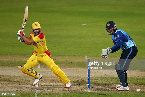 Adam Gilchrist the Captain of Sagittarius Strikers bats during the Oxigen Masters Champions League match between Leo Lions and Sagittarius Strikers...