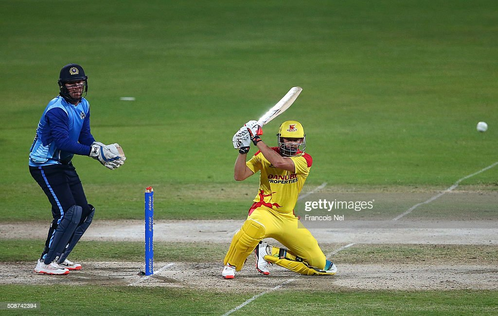 <a gi-track='captionPersonalityLinkClicked' href=/galleries/search?phrase=Adam+Gilchrist&family=editorial&specificpeople=175804 ng-click='$event.stopPropagation()'>Adam Gilchrist</a> the Captain of Sagittarius Strikers bats during the Oxigen Masters Champions League match between Leo Lions and Sagittarius Strikers on February 6, 2016 in Sharjah, United Arab Emirates.