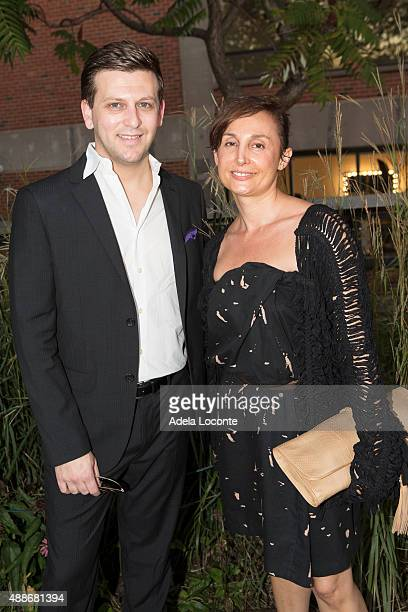 Adam Glick and Karina Daskalov attend the Anual Fundraising Event at Diller von Furstenberg Sundeck on September 16 2015 in New York City