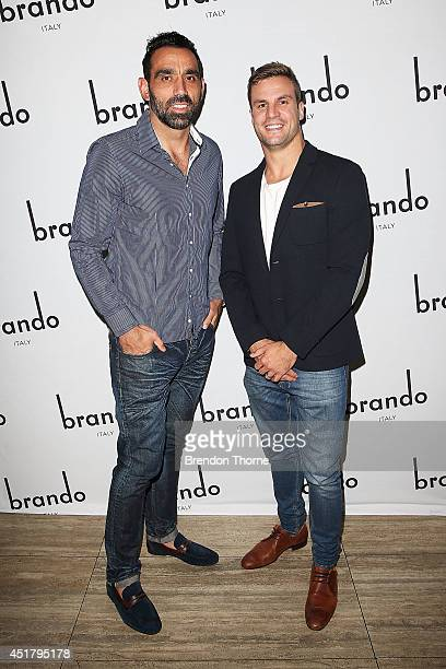 Adam Goodes and Beau Ryan arrive at the official Brando Shoes Exhibition at The Ivy on July 7 2014 in Sydney Australia