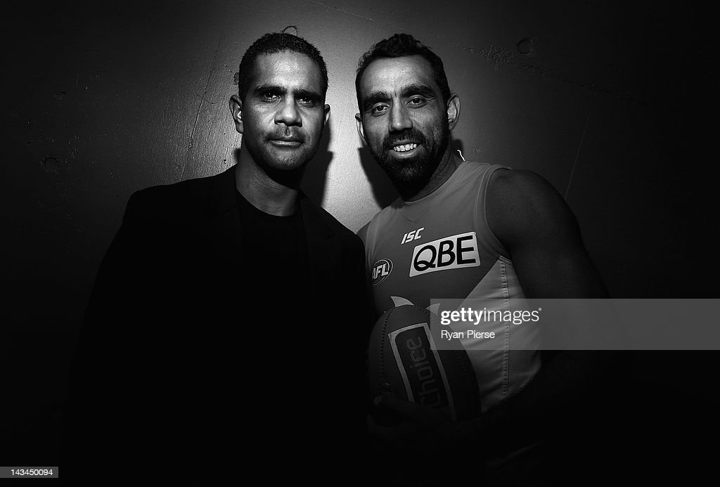 Adam Goodes (R) and Michael O'Loughlin (L) pose during a Sydney Swans AFL media session at the Sydney Cricket Ground on April 27, 2012 in Sydney, Australia. On Sunday, Goodes will pass former player O'Loughlin to play the most games for the club.