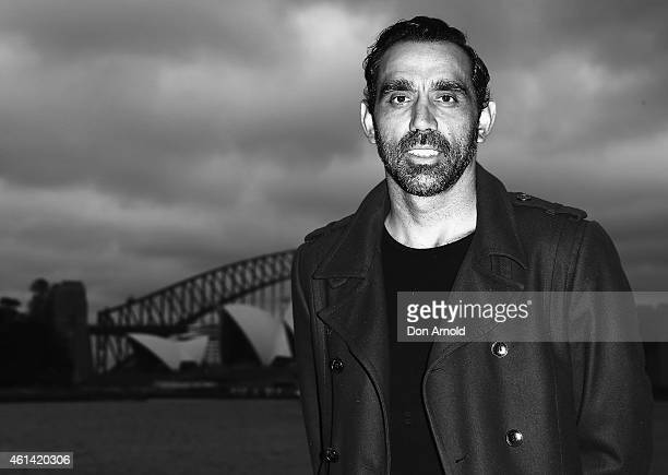Adam Goodes attends the VIP screening of movie WILD at OpenAir Cinema at Mrs Macquaries Point on January 12 2015 in Sydney Australia