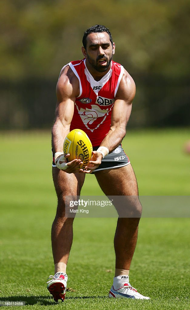 <a gi-track='captionPersonalityLinkClicked' href=/galleries/search?phrase=Adam+Goodes&family=editorial&specificpeople=206473 ng-click='$event.stopPropagation()'>Adam Goodes</a> catches during a Sydney Swans AFL training session at Lakeside Oval on March 5, 2013 in Sydney, Australia.