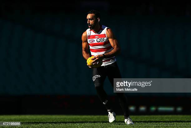 Adam Goodes in action during a Sydney Swans AFL training session at Sydney Cricket Ground on May 5 2015 in Sydney Australia