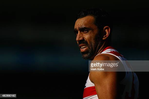 Adam Goodes looks on during a Sydney Swans AFL training session at the Sydney Cricket Ground on August 4 2015 in Sydney Australia