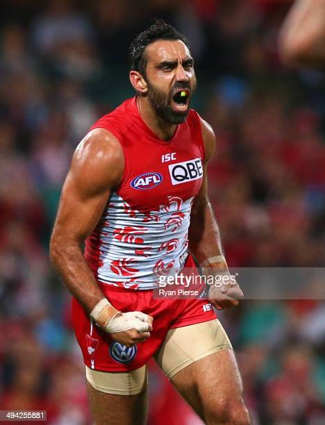 Adam Goodes of the Swans celebrates a goal during the round 11 AFL match between the Sydney Swans and the Geelong Cats at the Sydney Cricket Ground...
