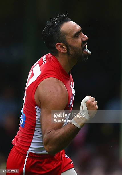 Adam Goodes of the Swans celebrates a goal during the round five AFL match between the Sydney Swans and the Western Bulldogs at SCG on May 2 2015 in...