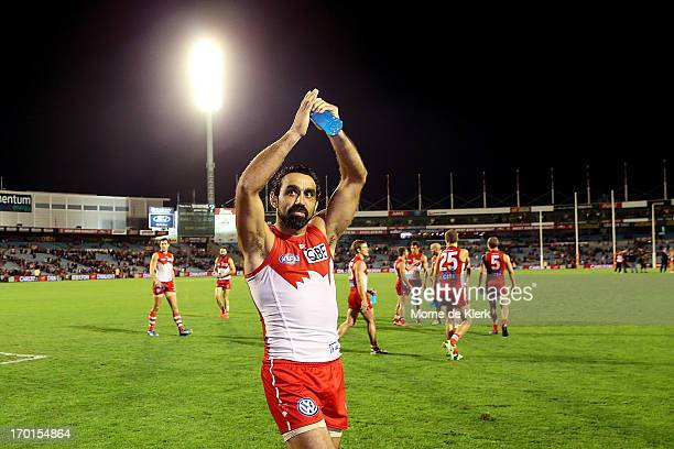 Adam Goodes of the Swans celebrates after the round 11 AFL match between the Adelaide Crows and the Sydney Swans at AAMI Stadium on June 8 2013 in...