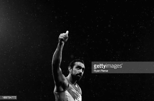 Adam Goodes of the Swans celebrates after the round ten AFL match between the Sydney Swans and the Eseendon Bombers at the Sydney Cricket Ground on...