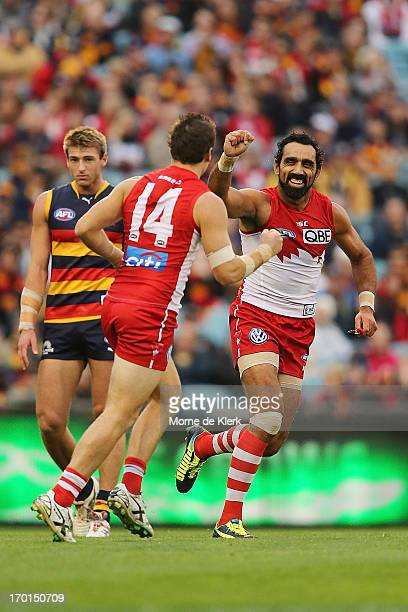 Adam Goodes of the Swans celebrates during the round 11 AFL match between the Adelaide Crows and the Sydney Swans at AAMI Stadium on June 8 2013 in...