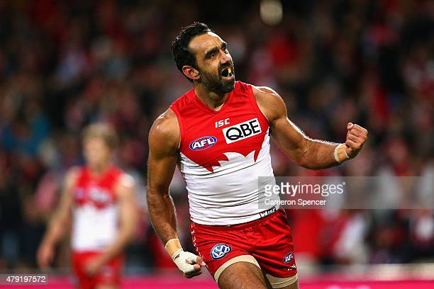 Adam Goodes of the Swans celebrates kicking a goal during the round 14 AFL match between the Sydney Swans and the Port Adelaide Power at SCG on July...