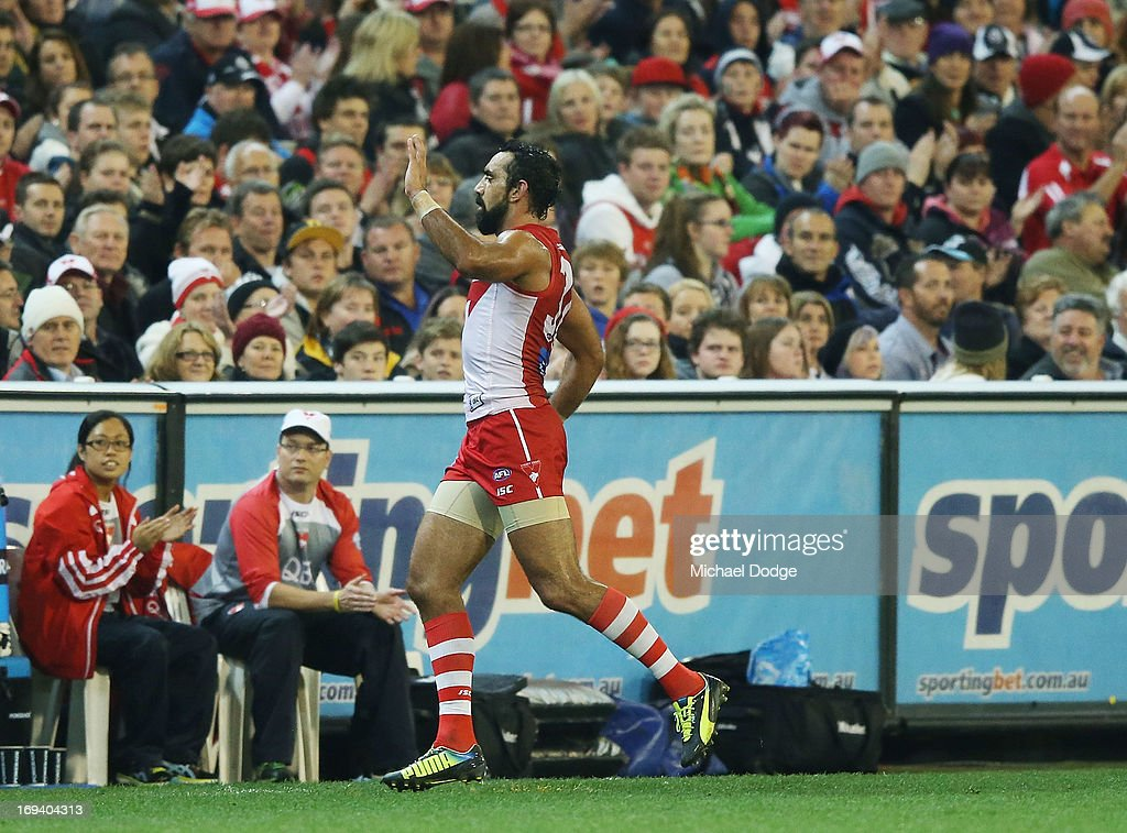 Adam Goodes of the Swans comes off the ground during the round nine AFL match between the Collingwood Magpies and the Sydney Swans at Melbourne...