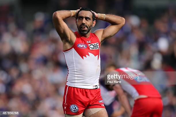 Adam Goodes of the Swans looks on after being defeated during the First AFL Qualifying Final match between the Fremantle Dockers and the Sydney Swans...