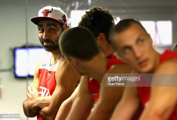 Adam Goodes of the Swans looks on during a Sydney Swans AFL recovery session at the Sydney Cricket Ground on September 7 2014 in Sydney Australia