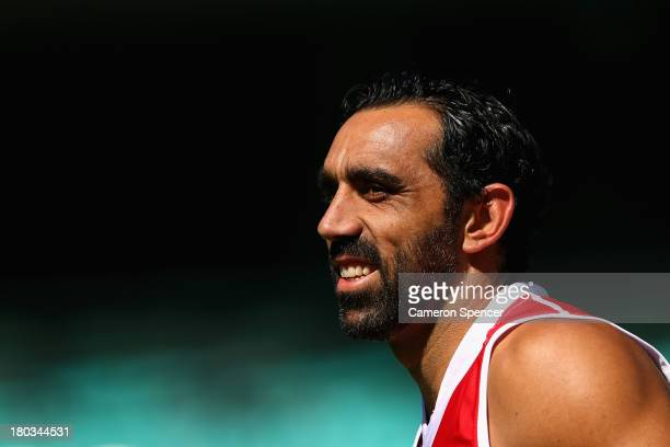 Adam Goodes of the Swans looks on during a Sydney Swans AFL training session at Sydney Cricket Ground on September 12 2013 in Sydney Australia