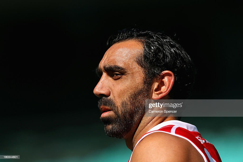 <a gi-track='captionPersonalityLinkClicked' href=/galleries/search?phrase=Adam+Goodes&family=editorial&specificpeople=206473 ng-click='$event.stopPropagation()'>Adam Goodes</a> of the Swans looks on during a Sydney Swans AFL training session at Sydney Cricket Ground on September 12, 2013 in Sydney, Australia.