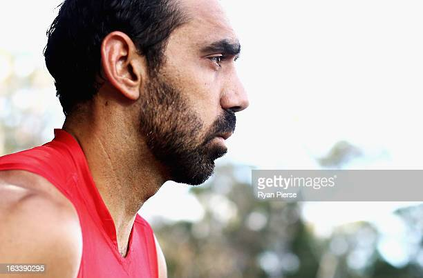 Adam Goodes of the Swans looks on during the round three NAB Cup AFL match between the Sydney Swans and the Gold Coast Suns at Blacktown...