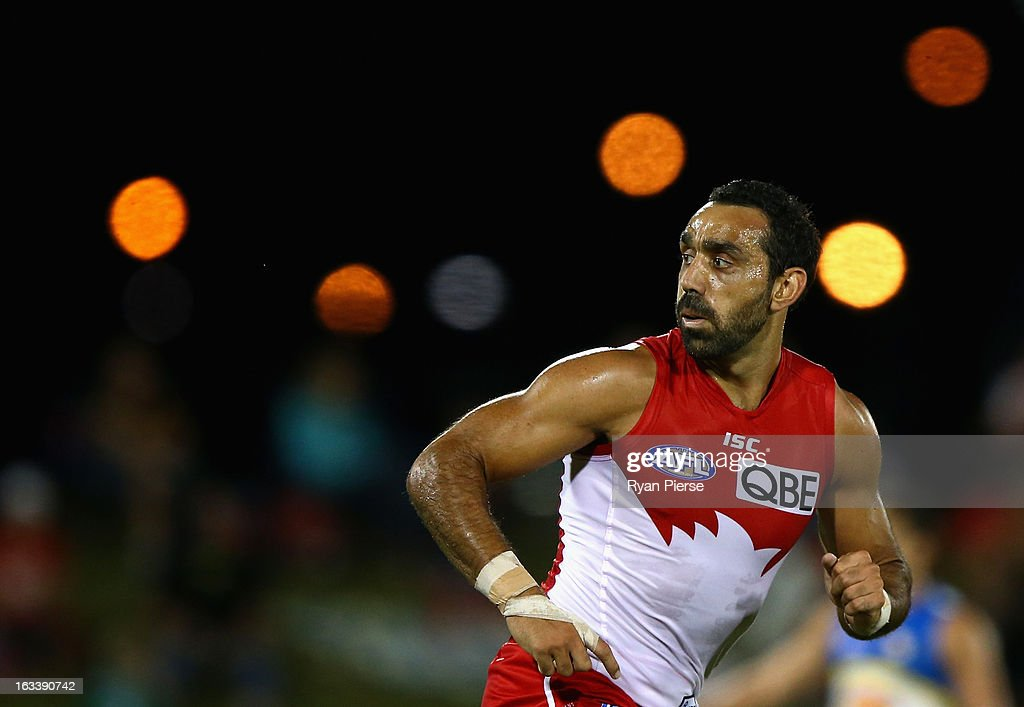 Adam Goodes of the Swans looks on during the round three NAB Cup AFL match between the Sydney Swans and the Gold Coast Suns at Blacktown International Sportspark on March 9, 2013 in Sydney, Australia.