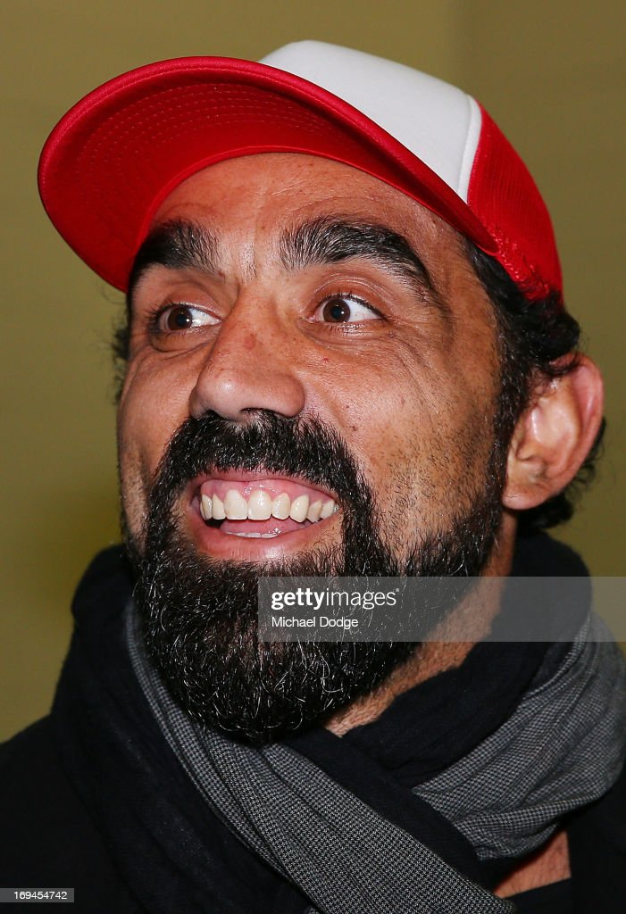 Adam Goodes of the Swans reacts in the Bulldogs change rooms after the round nine AFL match between the St Kilda Saints and the Western Bulldogs at Etihad Stadium on May 25, 2013 in Melbourne, Australia.