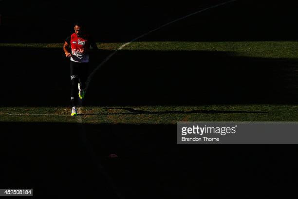 Adam Goodes of the Swans runs laps during a Sydney Swans AFL training session at Sydney Cricket Ground on July 22 2014 in Sydney Australia
