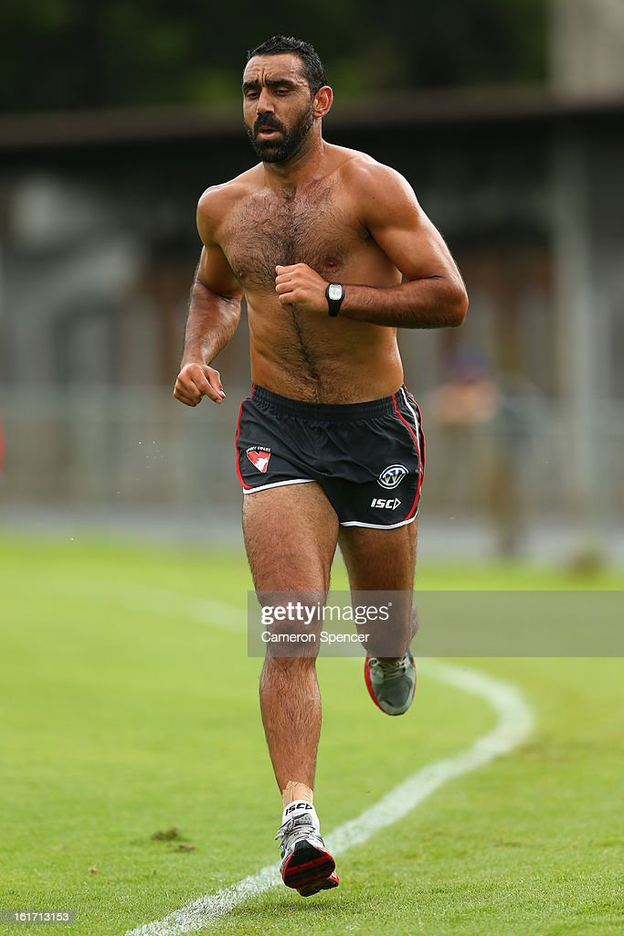 <a gi-track='captionPersonalityLinkClicked' href=/galleries/search?phrase=Adam+Goodes&family=editorial&specificpeople=206473 ng-click='$event.stopPropagation()'>Adam Goodes</a> of the Swans runs laps during an intra-club practice match during a Sydney Swans AFL training session at Moore Park on February 15, 2013 in Sydney, Australia.