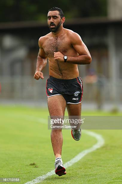 Adam Goodes of the Swans runs laps during an intraclub practice match during a Sydney Swans AFL training session at Moore Park on February 15 2013 in...
