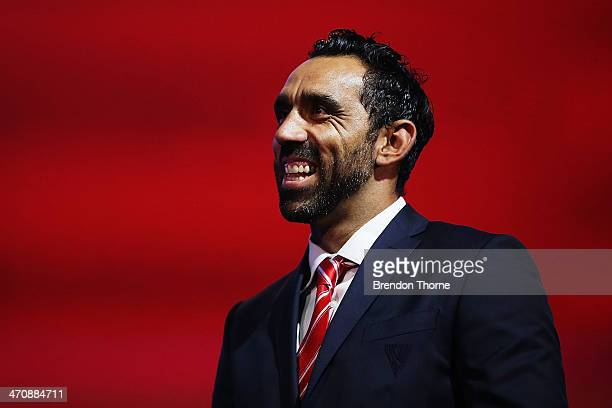 Adam Goodes of the Swans speaks on stage during the Sydney Swans AFL guernsey presentation and Hall of Fame induction ceremony at The Star on...