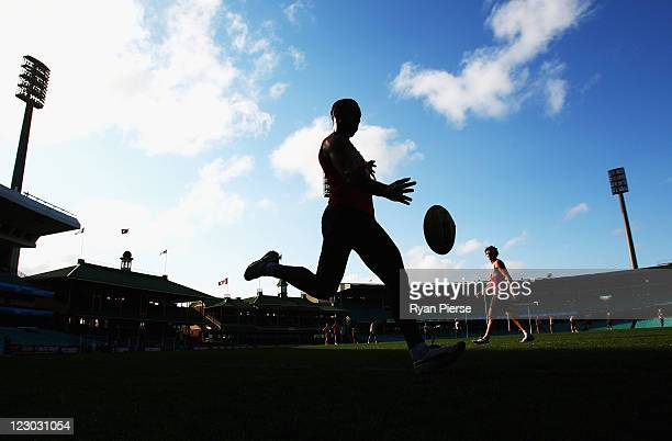 Adam Goodes of the Swans trains during a Sydney Swans AFL training session at Sydney Cricket Ground on August 30 2011 in Sydney Australia