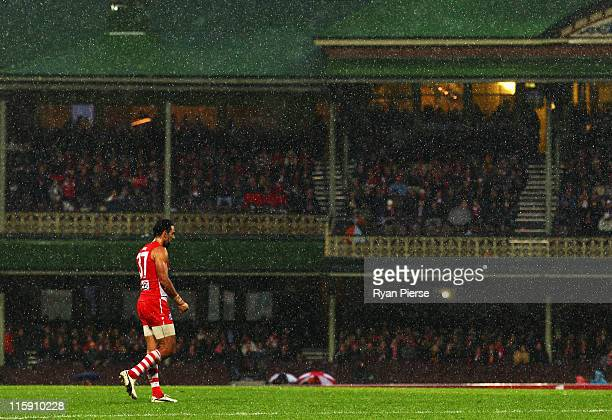 Adam Goodes of the Swans waits upfield during the round 12 AFL match between the Sydney Swans and the Richmond Tigers at Sydney Cricket Ground on...