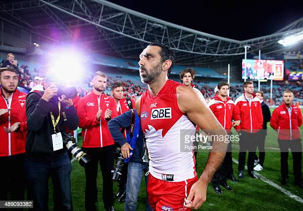 Adam Goodes of the Swans walks from the ground after the First AFL Semi Final match between the Sydney Swans and the North Melbourne Kangaroos at ANZ...