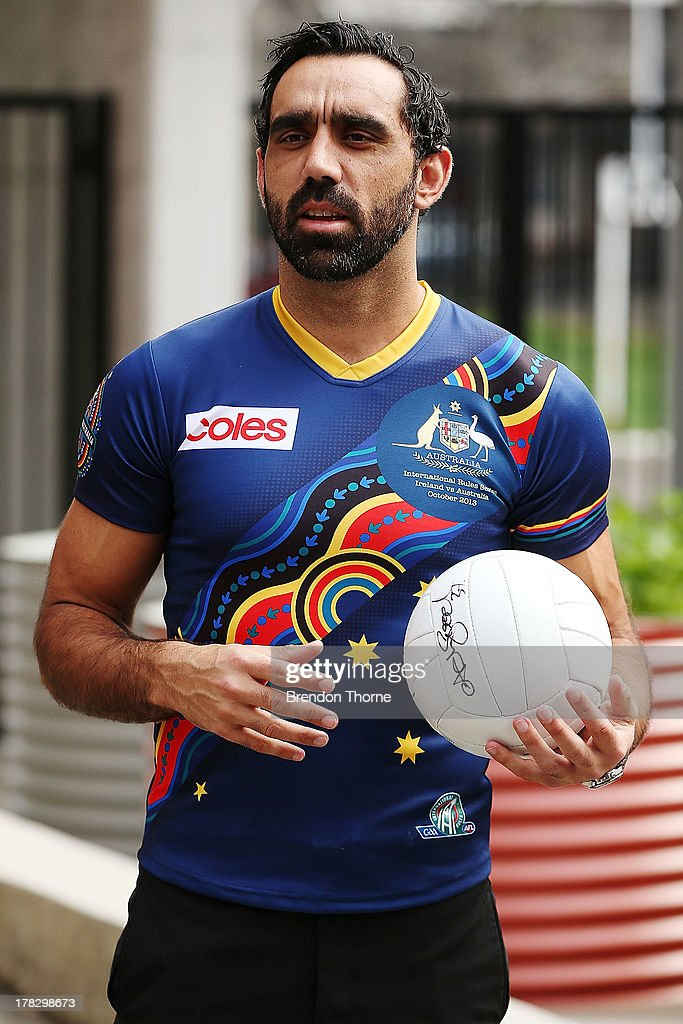 <a gi-track='captionPersonalityLinkClicked' href=/galleries/search?phrase=Adam+Goodes&family=editorial&specificpeople=206473 ng-click='$event.stopPropagation()'>Adam Goodes</a> speaks to the media during the AFL Indigenous Australian Rules Squad announcement at the National Centre for Indigenous Excellence on August 29, 2013 in Sydney, Australia.