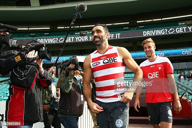 Adam Goodes walks onto the field before a Sydney Swans AFL training session at Sydney Cricket Ground on August 4 2015 in Sydney Australia