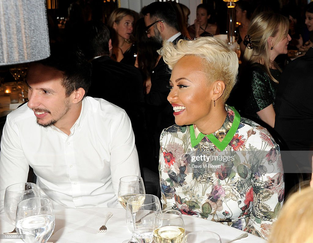 (MANDATORY CREDIT PHOTO BY DAVE M BENETT/GETTY IMAGES REQUIRED) Adam Gouraguine (L) and Emeli Sande attend the Harper's Bazaar Women of the Year Awards 2012, in association with Estee Lauder, Harrods and Tiffany & Co., at Claridge's Hotel on October 31, 2012 in London, England.