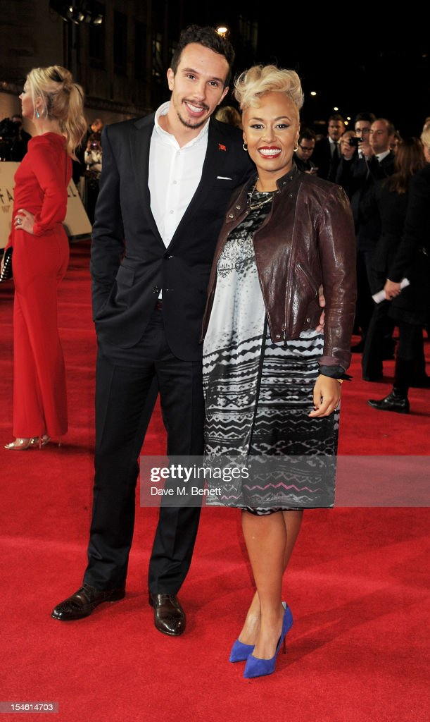 Adam Gouraguine (L) and Emeli Sande attend the Royal World Premiere of 'Skyfall' at the Royal Albert Hall on October 23, 2012 in London, England.