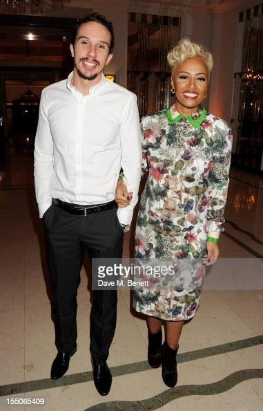 Adam Gouraguine and Musician of the Year winner Emeli Sande pose at the Harper's Bazaar Women of the Year Awards 2012 in association with Estee...