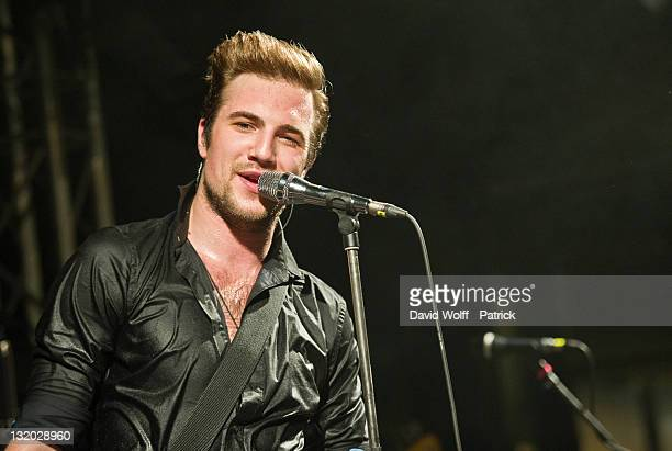 Adam Grahn from Royal Republic performs at La Fleche d'Or on November 9 2011 in Paris France