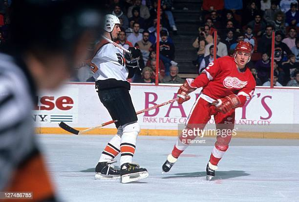 Adam Graves of the Detroit Red Wings skates on the ice during an NHL game against the Philadelphia Flyers on January 15 1989 at the Spectrum in...
