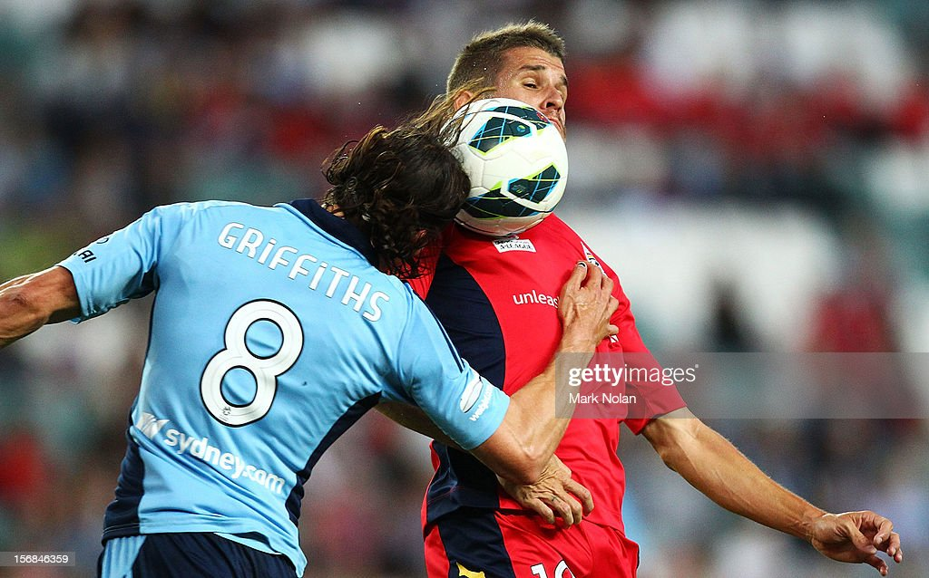 Adam Griffiths of Sydney and Dario Vidosic of Adelaide contest possession during the round eight A-League match between Sydney FC and Adelaide United at Allianz Stadium on November 23, 2012 in Sydney, Australia.